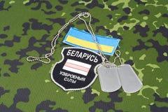 KIEV, UCRÂNIA - em agosto de 2015 O bielorrusso oferece-se no exército de Ucrânia Guerra 2014 - 2015 de Russo-Ucrânia Badg unifor Foto de Stock Royalty Free