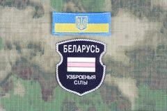 KIEV, UCRÂNIA - em agosto de 2015 O bielorrusso oferece-se no exército de Ucrânia Guerra 2014 - 2015 de Russo-Ucrânia Crachá unif Fotografia de Stock