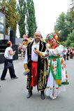 KIEV, UCRAINA - 24 AGOSTO: Marzo mega dei ricami nel Kyiv capitale ucraino Tempo pacifico fotografia stock