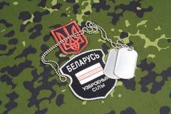 KIEV, UCRAINA - augusta, 06, 2015 Il bielorusso si offre volontariamente nell'esercito dell'Ucraina Guerre 2014 - 2015 dell'Russo Fotografie Stock