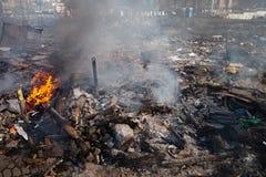 KIEV, UCRAINA - 19 febbraio 2014: Proteste antigovernative di massa Fotografia Stock
