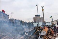 KIEV, UCRAINA - 19 febbraio 2014: Proteste antigovernative di massa Immagine Stock Libera da Diritti