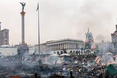KIEV, UCRAINA - 19 febbraio 2014: Proteste antigovernative di massa Fotografie Stock Libere da Diritti