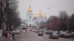 KIEV, UCRAINA - 25 FEBBRAIO 2015: Vista del Hagia Sophia (st Sophia Cathedral) ed il campanile archivi video