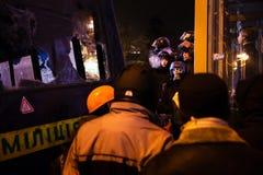 KIEV, UCRAINA - 24 gennaio 2014: Proteste antigovernative di massa Immagini Stock