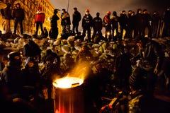 KIEV, UCRAINA - 24 gennaio 2014: Proteste antigovernative di massa Fotografie Stock Libere da Diritti