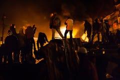 KIEV, UCRAINA - 24 gennaio 2014: Proteste antigovernative di massa Fotografia Stock Libera da Diritti