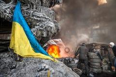 KIEV, UCRAINA - 25 gennaio 2014: Proteste antigovernative di massa Fotografie Stock Libere da Diritti