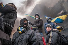 KIEV, UCRAINA - 25 gennaio 2014: Proteste antigovernative di massa Fotografia Stock Libera da Diritti