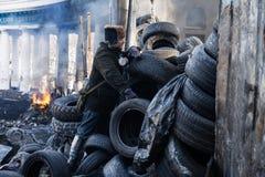 KIEV, UCRAINA - 26 gennaio 2014: Proteste antigovernative di massa Immagine Stock Libera da Diritti