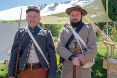 Kiev, Ucraina - 27 maggio 2018: Uomini nell'uniforme dei soldati dei periodi della guerra civile in U.S.A. fotografia stock