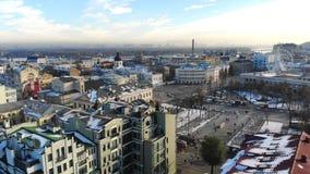 Kiev, Kiev, Ucraina - 18 novembre 2018: Vista aerea di bei paesaggi di Kiev, architettura antica Inverno stock footage