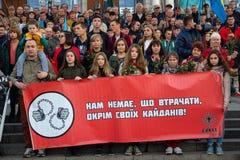 Kiev, Ucraina - 14 ottobre 2018: Attivisti dei partiti politici sul quadrato di indipendenza fotografie stock libere da diritti