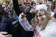 KIEV, UCRAINA - 31 ottobre 2015: Celebrazione di Halloween in Kyiv Fotografie Stock