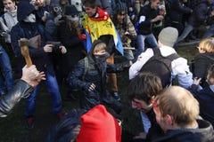 KIEV, UCRAINA - 31 ottobre 2015: Celebrazione di Halloween in Kyiv Fotografie Stock Libere da Diritti