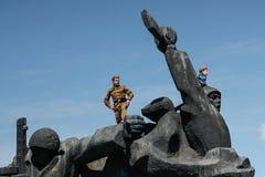 KIEV, UCRAINA - possa 09, 2015: Le bande militari marciano il giorno del settantesimo anniversario della vittoria sopra nazismo a Fotografia Stock