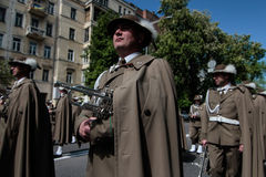 KIEV, UCRAINA - possa 09, 2015: Le bande militari marciano il giorno del settantesimo anniversario della vittoria sopra nazismo a Immagine Stock