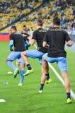 Kiev, UCRAINA - 13 settembre 2016: I giocatori di football americano di Napoli sono traini Fotografie Stock
