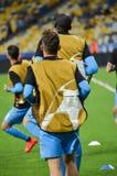 Kiev, UCRAINA - 13 settembre 2016: I giocatori di football americano di Napoli sono traini Fotografia Stock Libera da Diritti