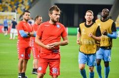 Kiev, UCRAINA - 13 settembre 2016: I giocatori di football americano di Napoli sono traini Immagine Stock Libera da Diritti