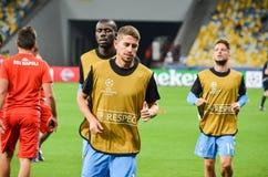 Kiev, UCRAINA - 13 settembre 2016: I giocatori di football americano di Napoli sono traini Immagini Stock Libere da Diritti