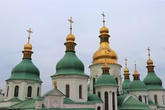 Kiev, Ucraina Vista dettagliata delle sette cupole del san Sophia Curch fotografie stock libere da diritti