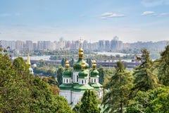 Kiev, Ucraina Vista superiore Dnieper dal giardino botanico Fotografie Stock