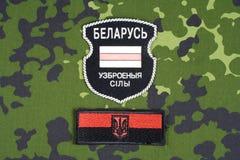 KIEV, UCRANIA - agosto de 2015 Voluntarios bielorrusos en el ejército de Ucrania Guerra 2014 - 2015 de Ruso-Ucrania Insignia unif Foto de archivo