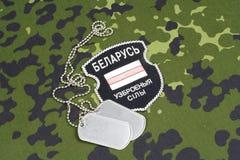KIEV, UCRANIA - agosto, 06, 2015 Voluntarios bielorrusos en el ejército de Ucrania Guerra 2014 - 2015 de Ruso-Ucrania Insignia un Imagen de archivo