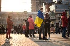 Kiev, Ucrania 19 de abril de 2019 Discusi?n presidencial 2019 del UA Estadio de Kiev Olympiyskiy imágenes de archivo libres de regalías
