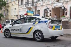 Kiev, Ucrania - 24 de agosto de 2016: Coche policía en la calle del fotografía de archivo