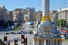 KIEV, UCRANIA - 10 DE AGOSTO DE 2018: Maidan Nnezlezhnosti y Khresh imagen de archivo