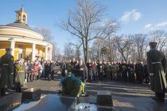 KIEV, UCRANIA - 29 de enero de 2016: En el día de los héroes de Kruty, Presid Foto de archivo libre de regalías