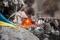 KIEV, UCRANIA - 25 de enero de 2014: Protestas antigubernamentales totales Foto de archivo libre de regalías