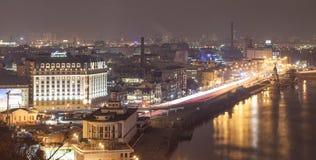 KIEV, UCRANIA - 25 de febrero de 2015: Vista panorámica del bajo - distrito histórico de Kiev Foto de archivo