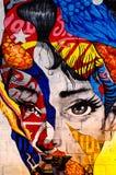 Kiev, Ucrania - 10 de junio de 2019 Barra de Warhol La cara de la muchacha en la pared de ladrillo Arte moderno Retrato hermoso d foto de archivo libre de regalías