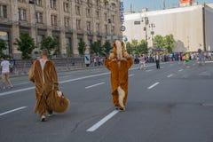 Kiev, Ucrania - 19 de junio de 2016: Hombres vestidos como animadores Imagen de archivo libre de regalías