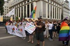 Kiev, Ucrania 23 de junio de 2019 Pride Parade anual LGBT La inscripción mi madre hizo salir cuando era 30 fotos de archivo libres de regalías