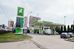 Kiev, Ucrania - 22 de marzo de 2017: Gasolinera de OKKO Imágenes de archivo libres de regalías