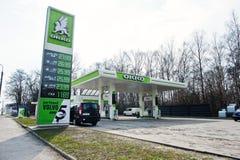 Kiev, Ucrania - 22 de marzo de 2017: Gasolinera de OKKO Fotografía de archivo libre de regalías