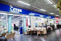 Kiev, Ucrania - 22 de marzo de 2017: Jysk es venta danesa de la cadena de venta al por menor Fotografía de archivo libre de regalías