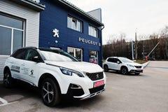 Kiev, Ucrania - 22 de marzo de 2017: Nuevo Peugeot 3008 en el dealersh del coche Fotos de archivo libres de regalías