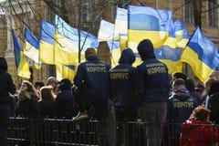 Kiev Ucrania - 23 de marzo de 2019: protesta política contra el gobierno en el centro de la capital de Ucrania fotos de archivo