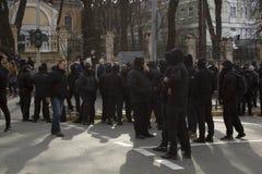 Kiev Ucrania - 23 de marzo de 2019: protesta política contra el gobierno en el centro de la capital de Ucrania imagenes de archivo