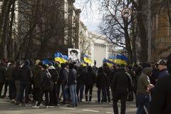 Kiev Ucrania - 23 de marzo de 2019: protesta política contra el gobierno en el centro de la capital de Ucrania fotografía de archivo libre de regalías