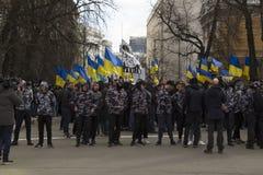 Kiev Ucrania - 23 de marzo de 2019: protesta política contra el gobierno en el centro de la capital de Ucrania imagen de archivo