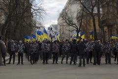Kiev Ucrania - 23 de marzo de 2019: protesta política contra el gobierno en el centro de la capital de Ucrania foto de archivo