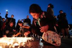 KIEV, UCRANIA - 17 de mayo de 2015: Tártaros crimeos marcan el 71o aniversario de la deportación forzada de tártaros crimeos de C Fotos de archivo