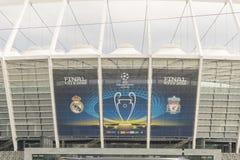 KIEV, UCRANIA - 20 de mayo de 2018: La vista de NSC el estadio Olímpico la víspera del partido final de UEFA defiende League-2018 Fotografía de archivo libre de regalías