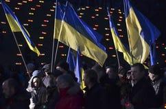 KIEV, UCRANIA - 28 de noviembre de 2015: Los ucranianos conmemoran la gran hambre 1932-1933 Foto de archivo libre de regalías